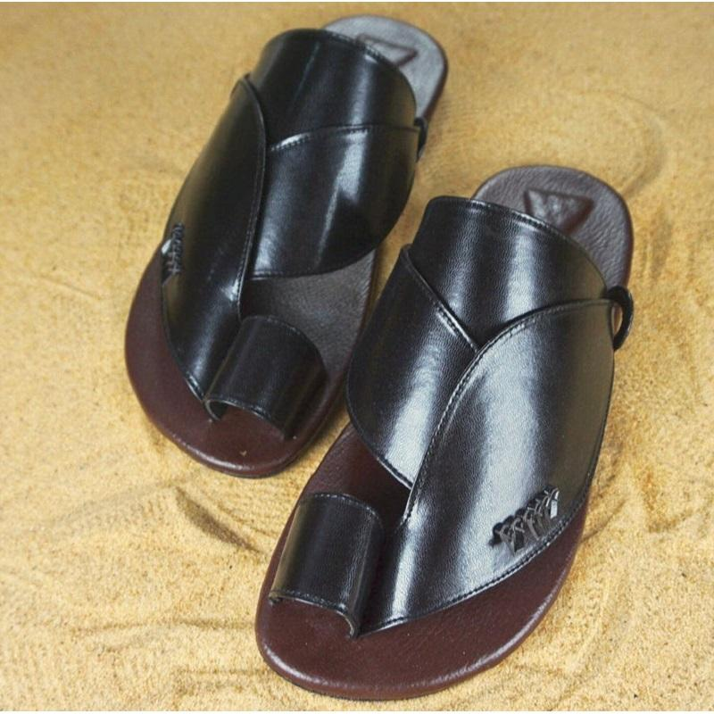Men's Casual PU Leather Slippers