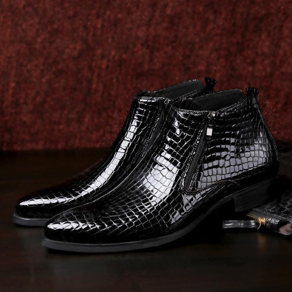 High-top Crocodile Leather Martin Pointed Boots-Black