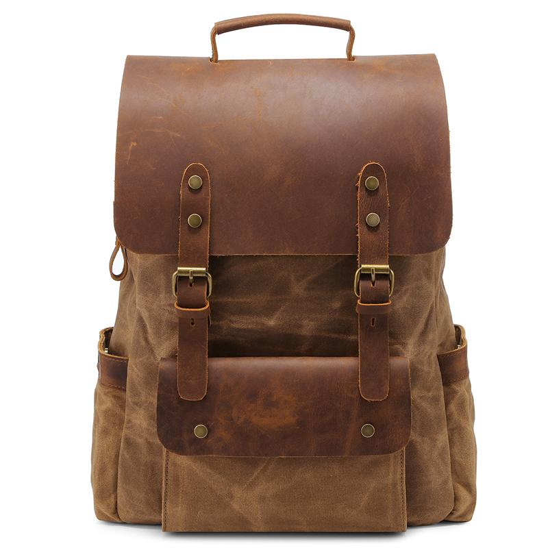 Vintage Crazy Horse Leather Canvas Backpack