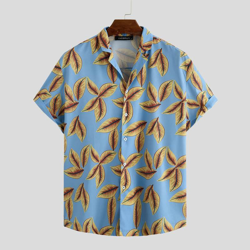 Summer Fashion Hawaiian Print Holiday Short Sleeve