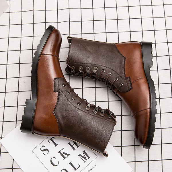 Men British Style High Top Lace-up Vintage Leather Boots