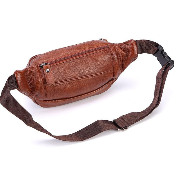 Men's Fashion Leather Crossbody Portable Travel Belt Bag