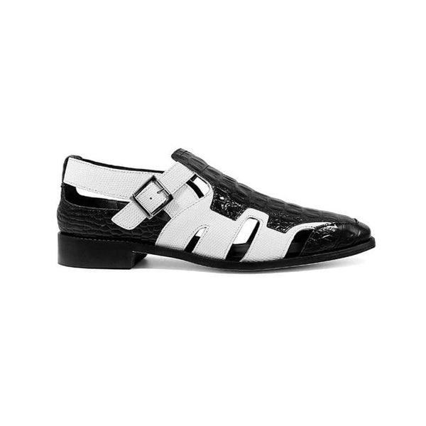 Clearance Trendy Black and White Colorblock Buckle Sandals