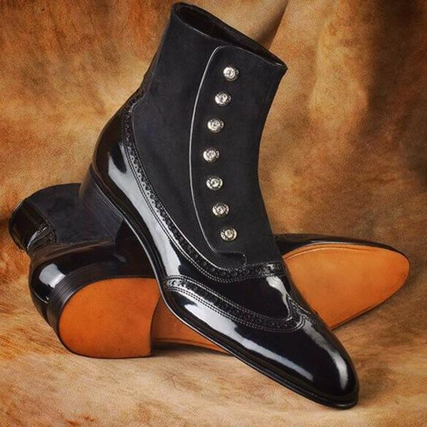 Clearance HANDMADE BLACK TWO TONE BUTTON BOOTS