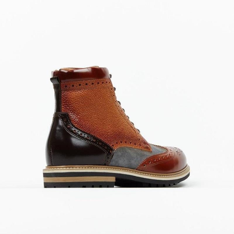 Fashion color matching mens leather boots
