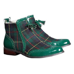 Clearance British Classic Plaid Tassel Men's Boots