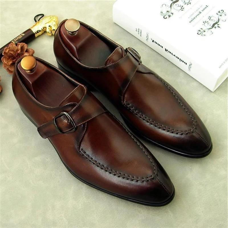 Luxury Brand Leather Formal Single Monk Shoes