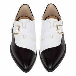 Clearance New Black and White Color Matching Leather Shoes