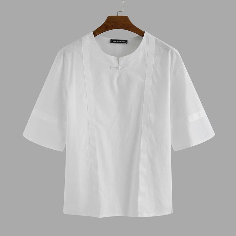 Retro Cotton Solid Color Street Casual Short Sleeve