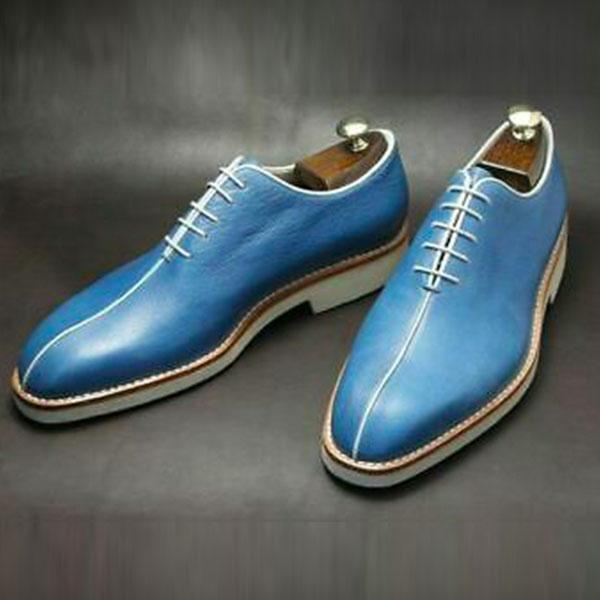 Clearance Vintage Blue Handmade Brogue Formal Shoes