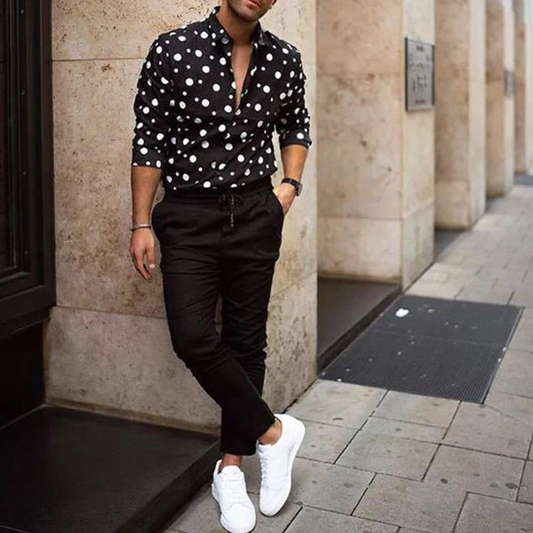 Fashion Polka Dot Lapel Long Sleeve Shirt