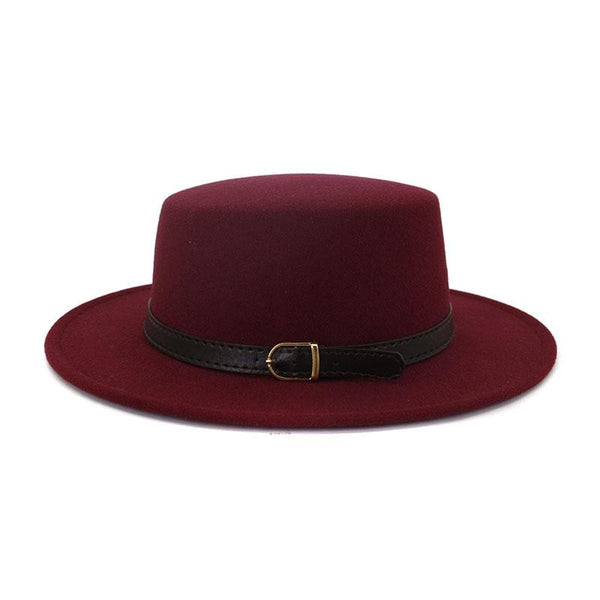 Classic Retro Woolen Flat Cap and Big Brim Hat