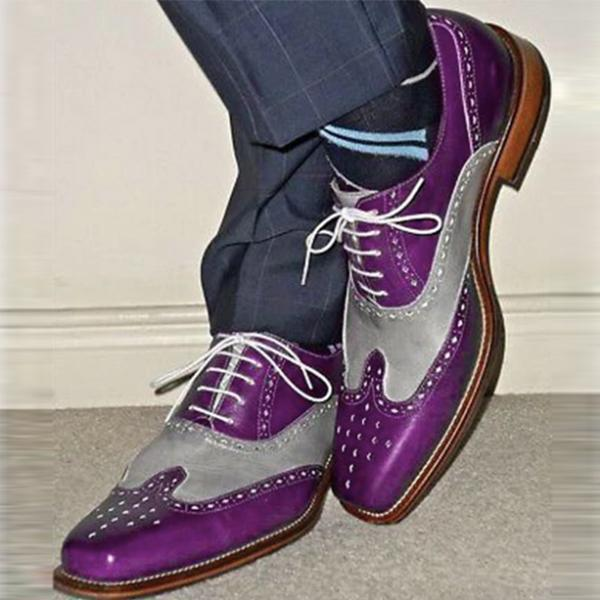 Clearance Handmade Men two tone wing tip brogue formal shoes