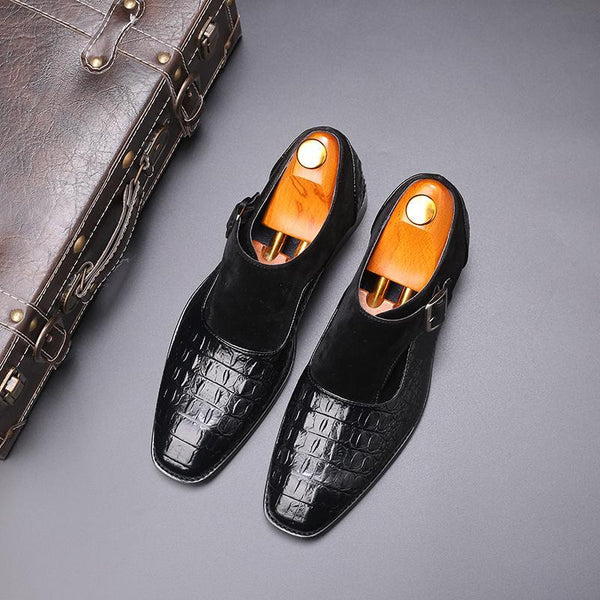 Handmade Crocodile Pattern Luxury Strap Shoes
