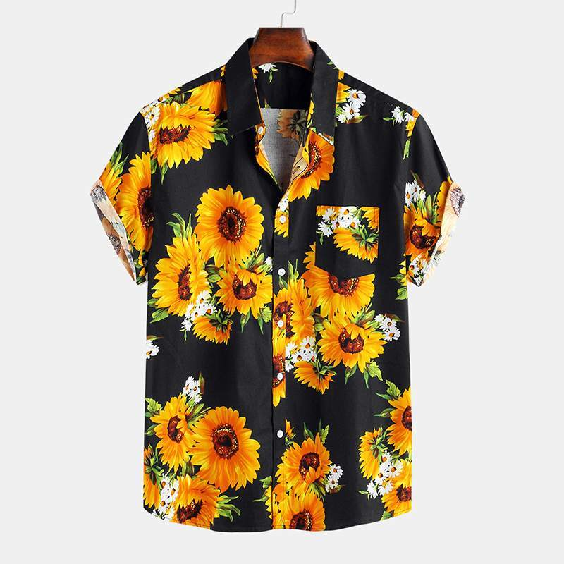 Men's Hawaiian Cotton Floral Print Casual Short Sleeve