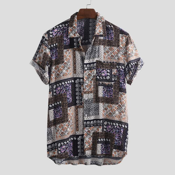 High Quality Vintage Printed Breathable Lapel Shirt