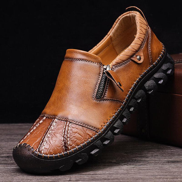 Men's Retro Stitching Side Zip Leather Shoes
