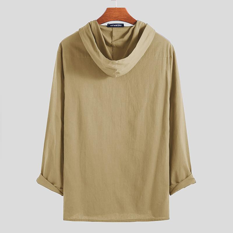 Long Sleeve Cotton Linen Hooded Casual Pullover