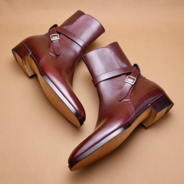Clearance Men's Handmade Leather Buckle Boots