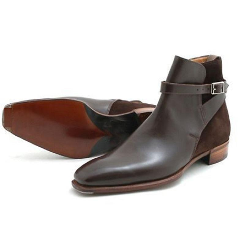 Clearance Handmade Men's Ankle High Leather Suede Boot Chocolate Brown Boot