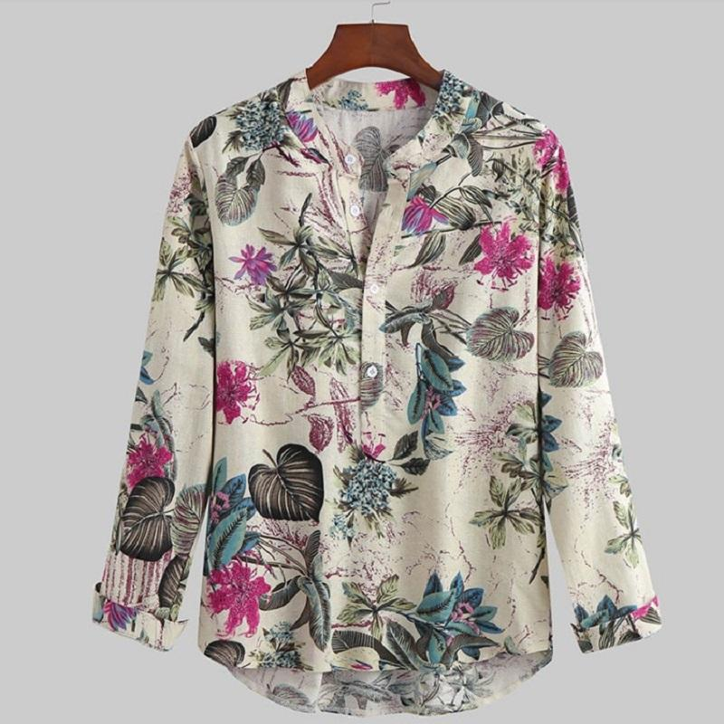Fashion American Style Printed Cotton and Linen Casual Shirt