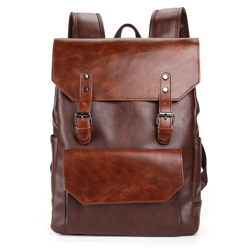 Men's Fashion Trend Leather Computer Backpack