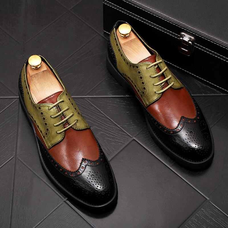 Pointed Toe Colorblock Men's Formal Shoes