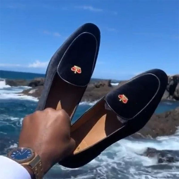 Luxury Crown Suede Loafers