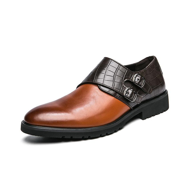 Double Buckle Monk Stitching Shoes