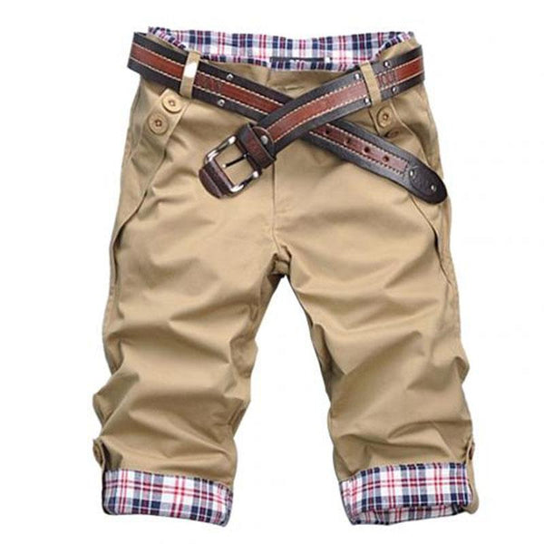 Summer Plaid Cuffed Men's Cropped Trousers