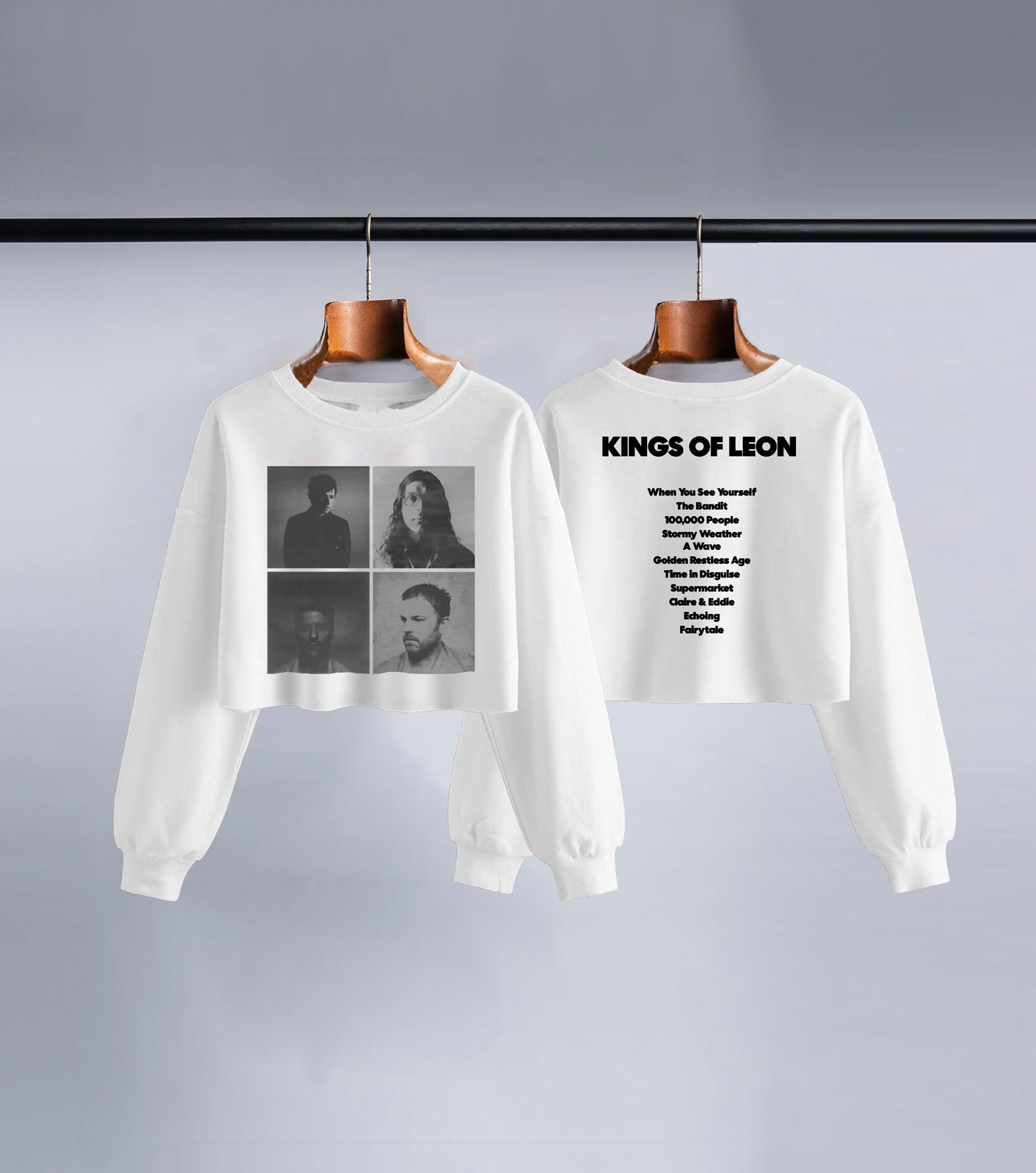 KOL Portraits Long Sleeve Crop Top (White)