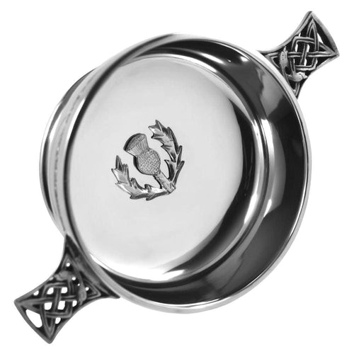 3 Celtic Handle Quaich With Thistle Badge