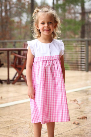 Gingham White Panel Dress with Ruffle