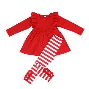 Red and White Stripe Button Pants Set