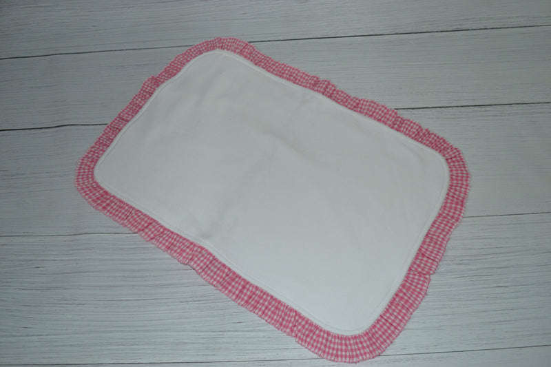 Pink Gingham Ruffle Burp Cloth