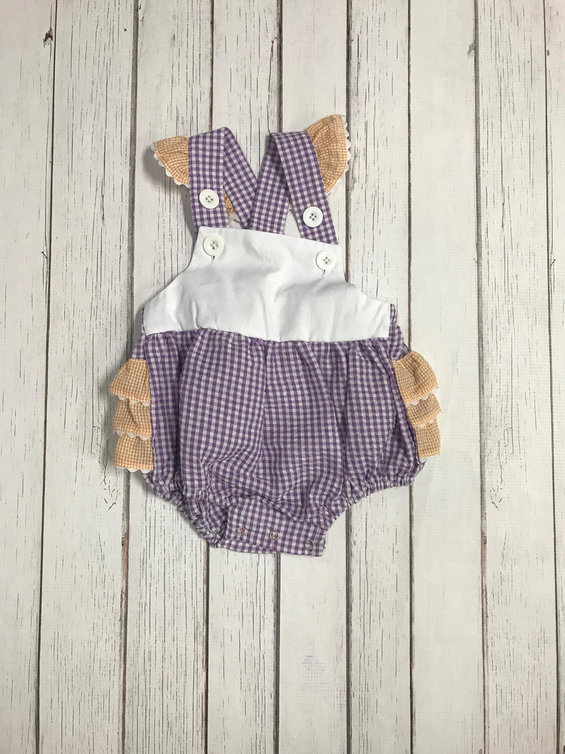 Gameday Two-Toned Gingham Flutter Sleeve Bib Bubble: Purple and Orange