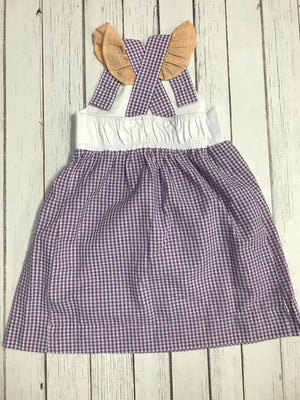 Gameday Two-Toned Gingham Flutter Sleeve Bib Dress- Orange and Purple