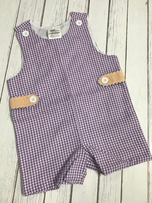 Gameday Two-Toned Gingham Jon Jon/Shortall: Purple and Orange