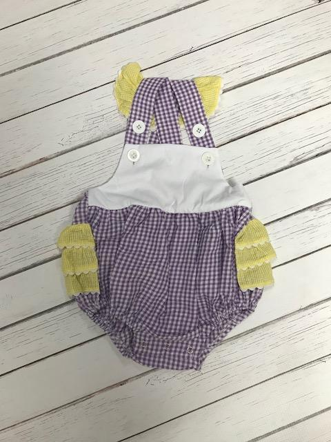 Two-Toned Gingham Flutter Sleeve Bib Bubble: Purple and Yellow