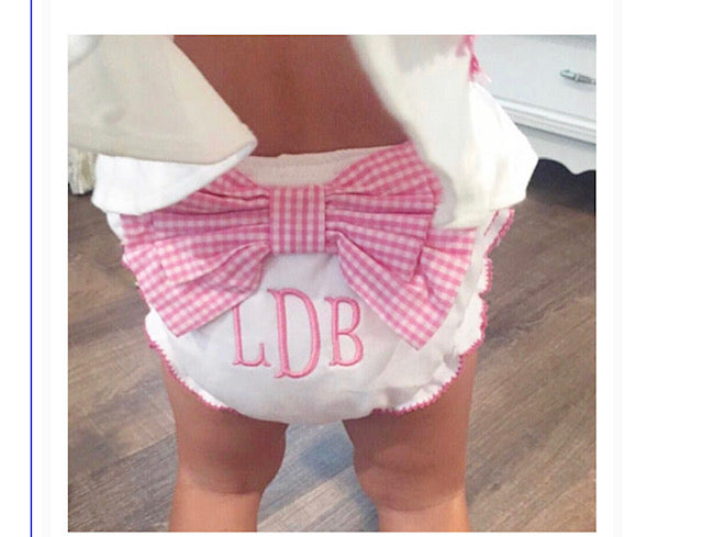 BACKORDERED Girls Gingham Bow Ruffle Diaper Cover or Bloomer