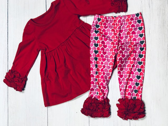 Valentines Day Icing Heart PRINTED Pants Set