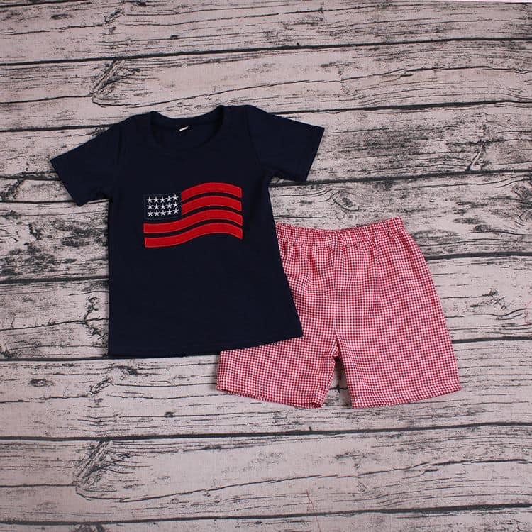 Boys Navy Blue and Red Gingham Flag Shorts Set