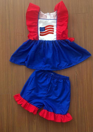 Red and Blue Flag Shorts Set