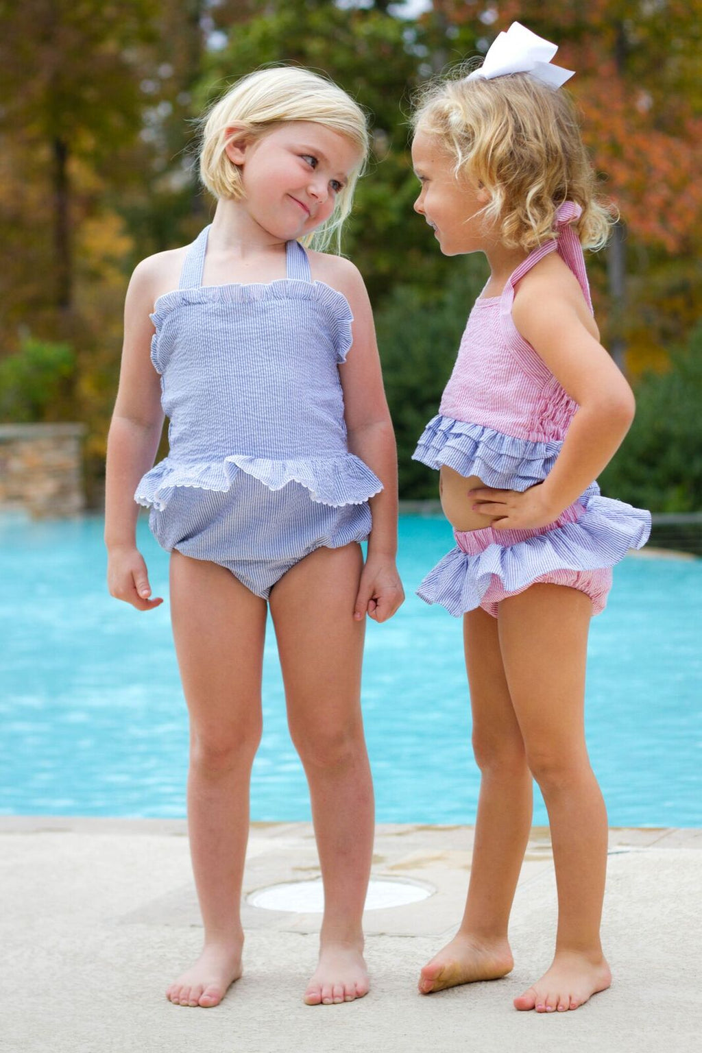 Girls Seersucker ONE Piece Swimsuit -  5 colors