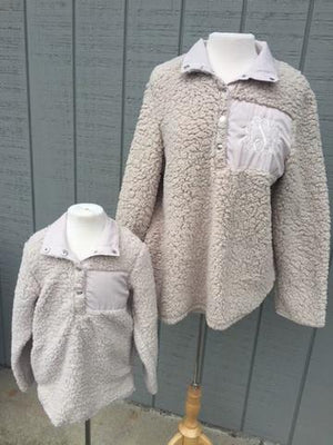 Child Sherpa Pullover - Beige - Size Small (5/6) - ONLY
