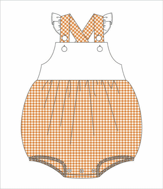 Two-Toned Gingham Flutter Sleeve Bib Bubble: Orange and White