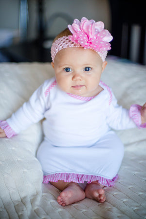 Pink Gingham Ruffle Infant Gown