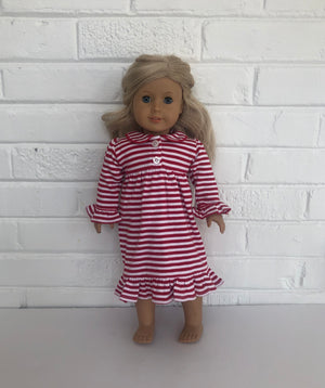 Red Stripe 18inch Doll Ruffle Dress Pre-Order