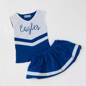 PRE-ORDER #9—Royal Blue/White Cheer Outfit