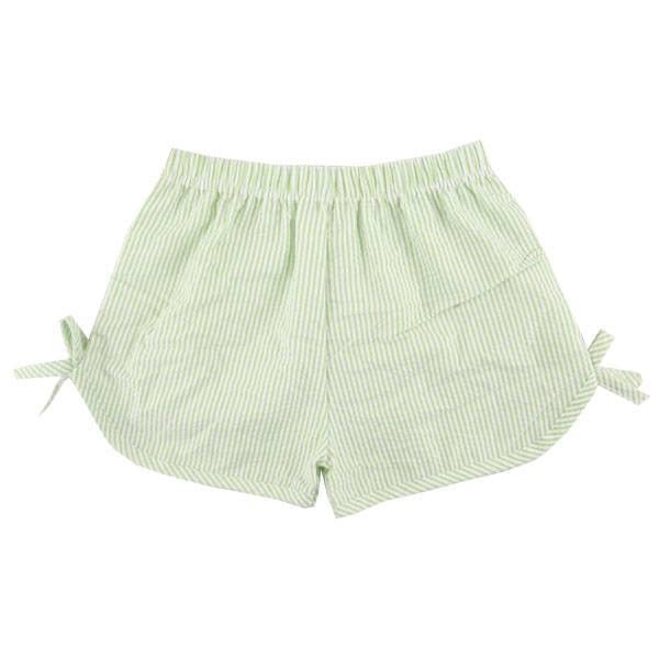Green Girls Side Tie Seersucker Shorts, PRE-ORDER extras, ships beginning of June